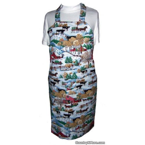 country farm winter scene bbq apron