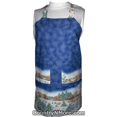 snowy winter reversible bbq apron
