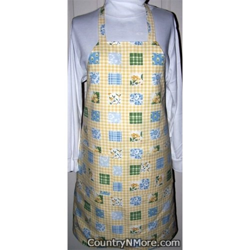 yellow floral reversible bbq apron