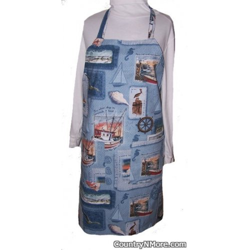 fishermans life reversible bbq apron