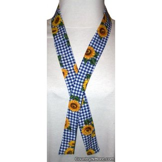 blue white checked sunflower neck cooler hot weather