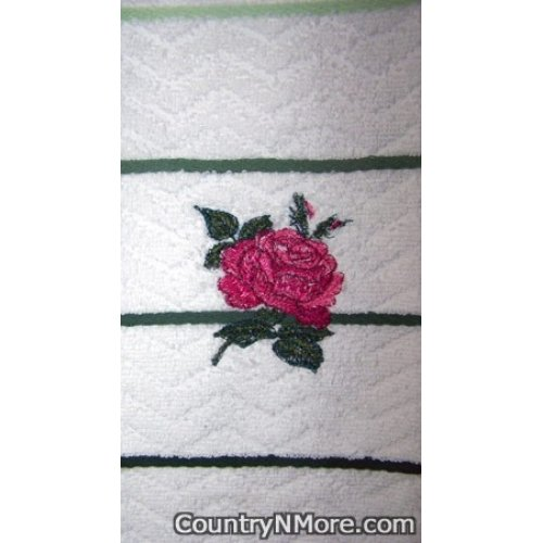 embroidered rose kitchen towel