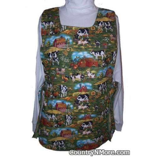 cows chickens roosters cobbler apron