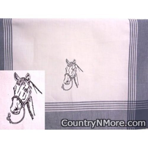 embroidered black horse silhouette tea towel