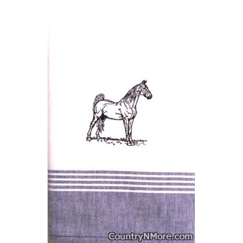 embroidered black stallion kitchen tea towel