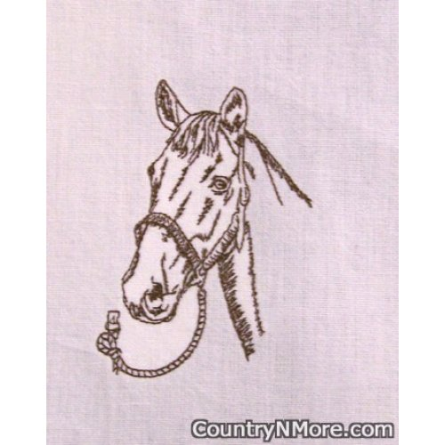 embroidered brown horse kitchen tea towel