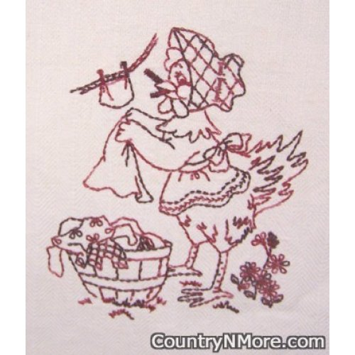 embroidered chicken tea towel