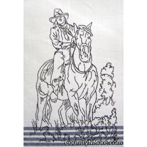 embroidered cowboy horse tea towel