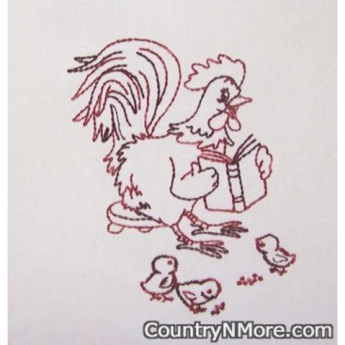 embroidered mother chicken reading story tea towel