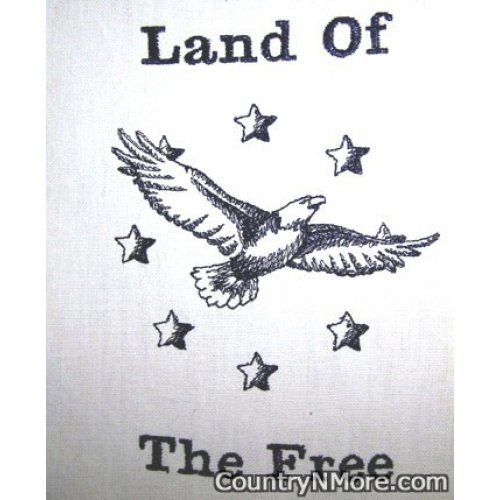 embroidered land free eagle tea towel