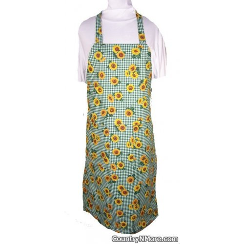 green sunflower bbq apron