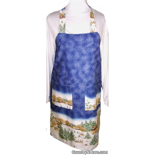 winter scene holiday bbq apron