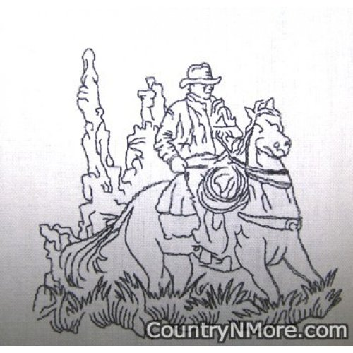 riding cowboy embroidered tea towel
