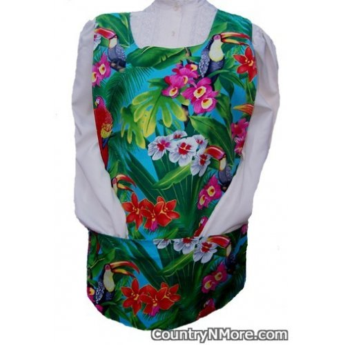 tropical birds plants cobbler apron