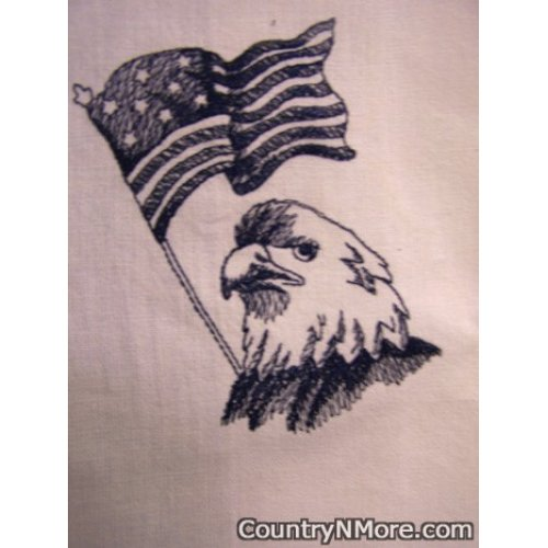 embroidered blue work eagle tea towel
