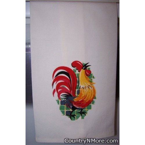 colorful vintage rooster flour sack kitchen towel