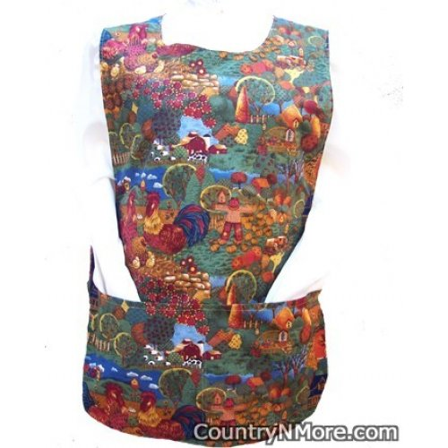 fall farm rooster cobbler apron