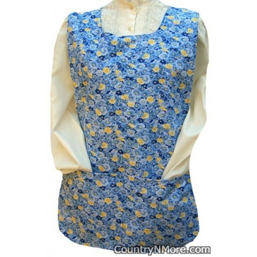 old fashioned blue floral cobbler apron