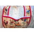 roosters chickens vintage apron large