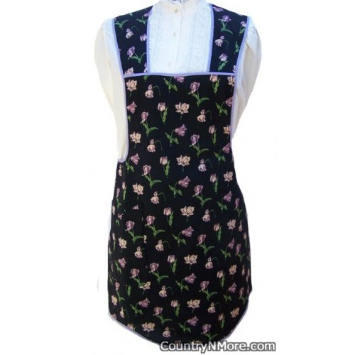 black flowers vintage apron