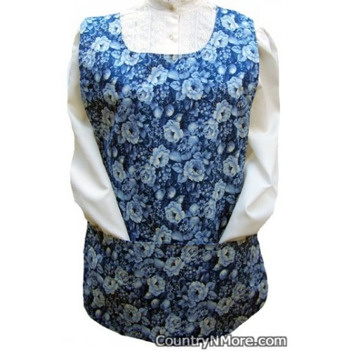 blue rose flower cobbler apron