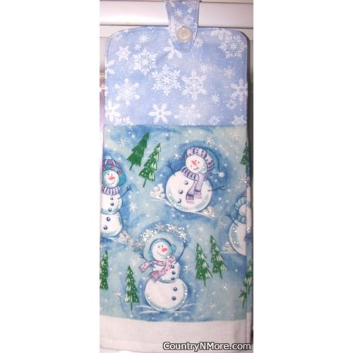 sparkly christmas holiday snowmen snowflake oven door towel