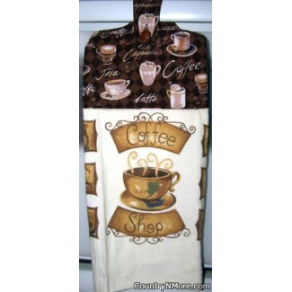 good cup coffee oven door towel
