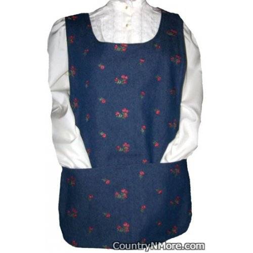 embroidered flower denin reversible cobbler apron