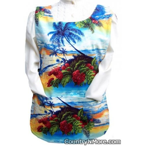 tropical scene sailboat cobbler apron