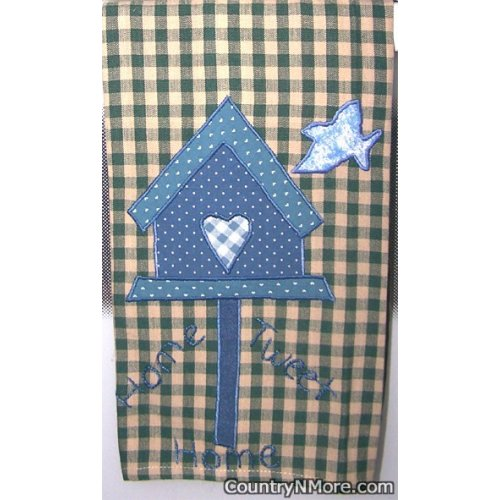 home tweet appliqued birdhouse kitchen towel