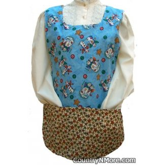 christmas holiday snowmen stars cobbler apron