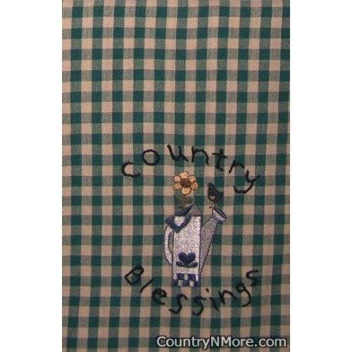 embroidered watering country blessings kitchen towel
