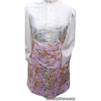 vintage pink floral clothespin waist apron