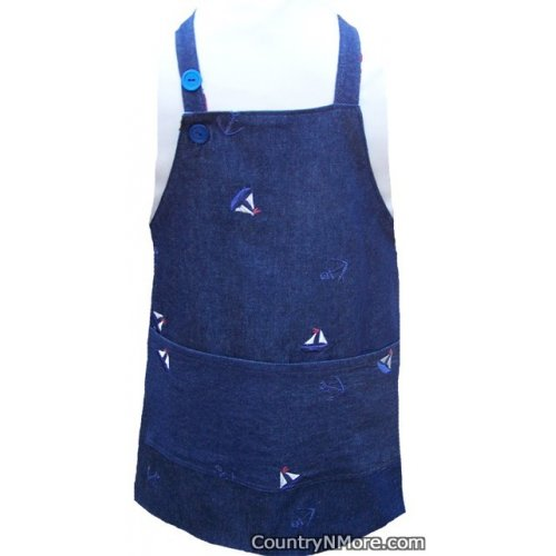 embroidered sailboat anchor denim toddler bbq apron
