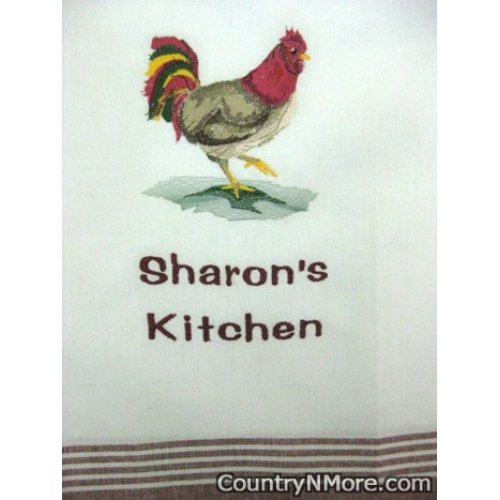 embroidered rooster kitchen towel sharons