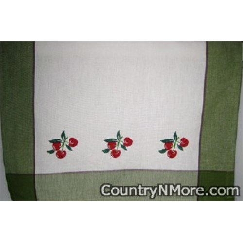 vintage cherry kitchen tea towel green