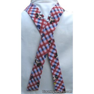 red white blue plaid mickey mouse neck cooler
