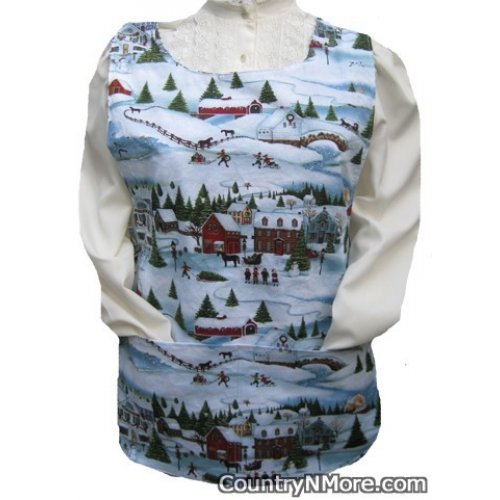 country winter town animal cobbler apron lg xl