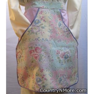 quilted look floral clothespin waist apron