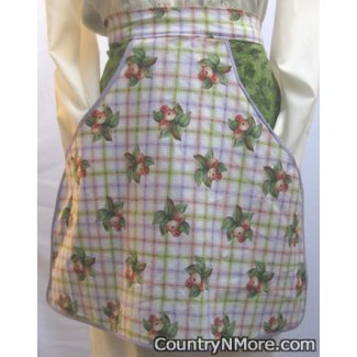 vintage plaid fruit waist clothespin apron