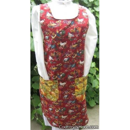 country rooster hen vintage canning apron large