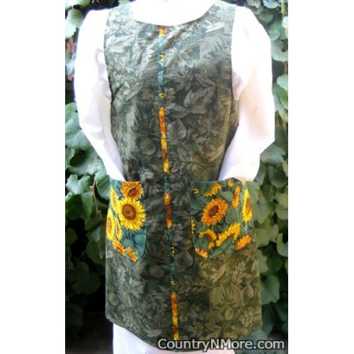 green leaves sunflower canning apron