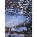 winter scene christmas country town cobbler apron lg xl