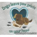 paw prints embroidered kitchen tea towel
