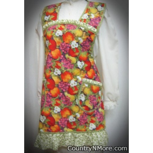 gorgeous vintage fruit plus size apron