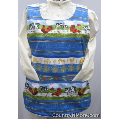 gorgeous country rooster revrsible cobbler apron lg xl