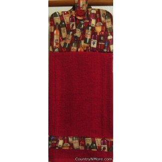 bottle wine red oven door kitchen tea towel