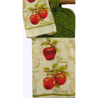 apples tree oven door towel matching dishcloth