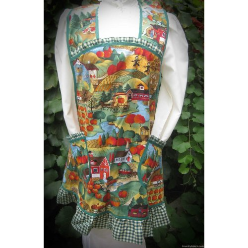 fall farm country vintage apron plus size
