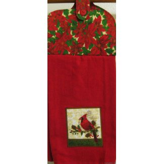 cardinal poinsettia oven door holiday towel